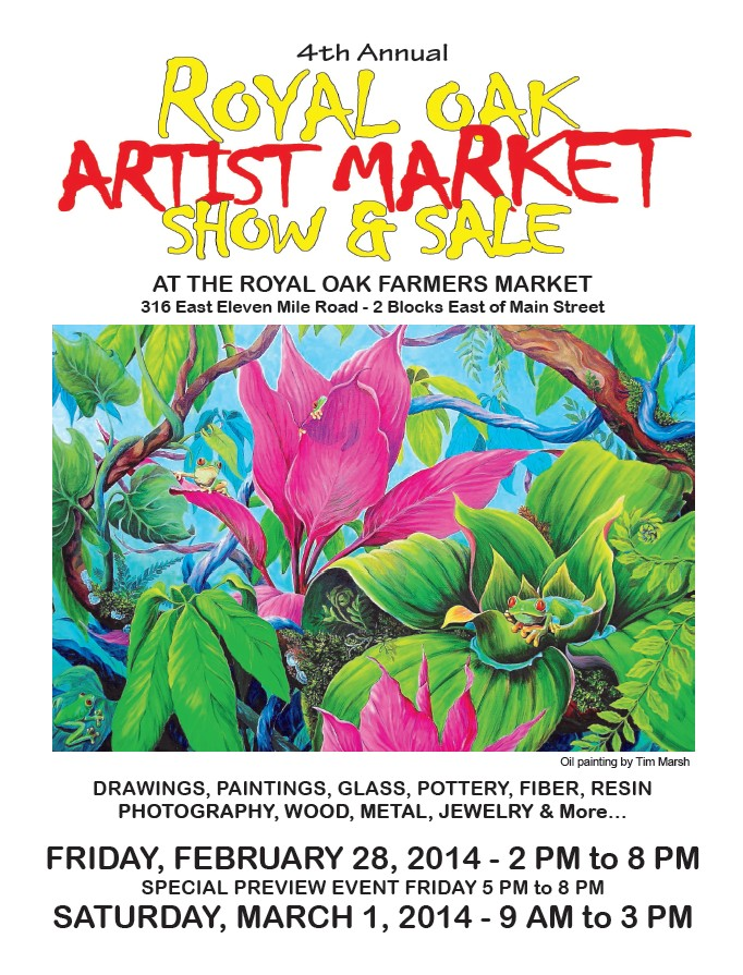 Please come say hello this weekend at the Royal Oak Artist Market.